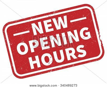 Red Grungy New Opening Hours Rubber Stamp Print Vector Illustration