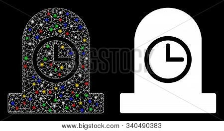 Glossy Mesh Expired Grave Icon With Glow Effect. Abstract Illuminated Model Of Expired Grave. Shiny