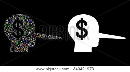 Glowing Mesh Financial Scammer Icon With Sparkle Effect. Abstract Illuminated Model Of Financial Sca