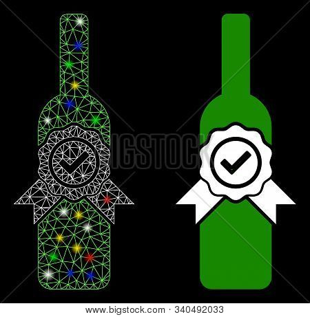 Glossy Mesh Finest Wine Icon With Lightspot Effect. Abstract Illuminated Model Of Finest Wine. Shiny