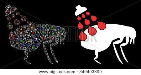 Flare Mesh Get Rid Of Fleas Icon With Glitter Effect. Abstract Illuminated Model Of Get Rid Of Fleas