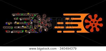 Bright Mesh Gone Viral Icon With Glitter Effect. Abstract Illuminated Model Of Gone Viral. Shiny Wir