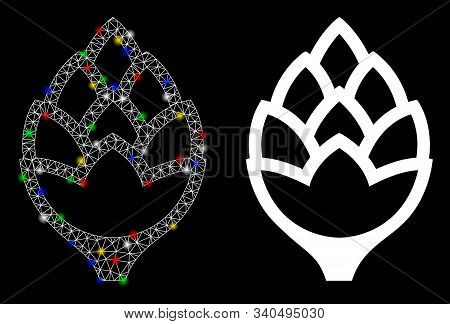 Flare Mesh Hop Bud Icon With Glare Effect. Abstract Illuminated Model Of Hop Bud. Shiny Wire Frame T