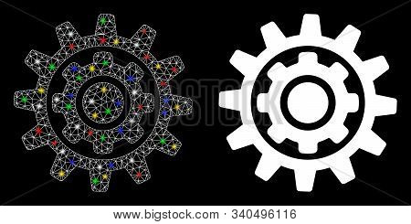Flare Mesh Inner Gear Icon With Glitter Effect. Abstract Illuminated Model Of Inner Gear. Shiny Wire