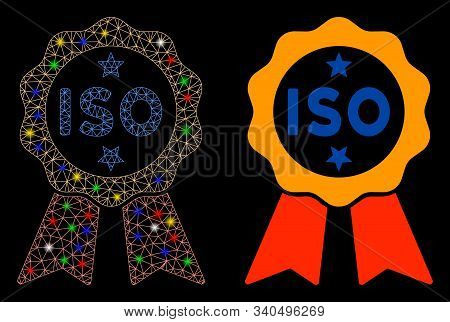 Glossy Mesh Iso Certified Icon With Glare Effect. Abstract Illuminated Model Of Iso Certified. Shiny