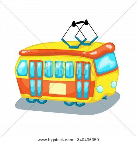 Tramway Side View Isolated. City Transport Cartoon Vector Illustration On White Background. Tram Car