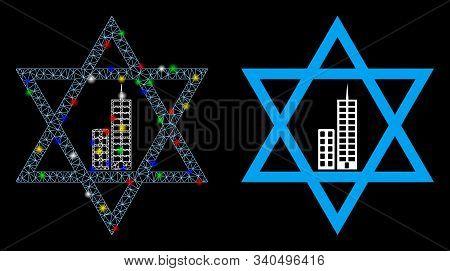 Glossy Mesh Jerusalem Star Icon With Glow Effect. Abstract Illuminated Model Of Jerusalem Star. Shin