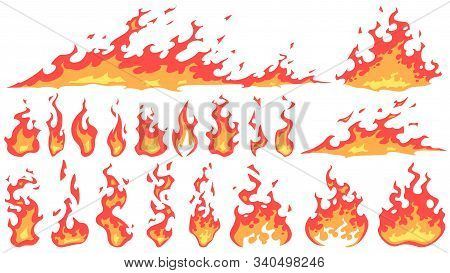 Cartoon Fire Flames. Fireball Flame, Red Hot Fire And Campfire Fiery Silhouettes Vector Set. Burning