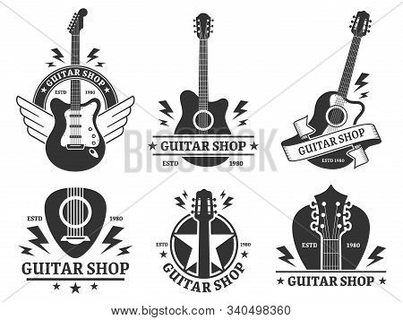 Guitar Shop Badges. Custom Guitars Shop Emblem, Guitar Headstock And Music Instruments Store Badge V
