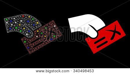 Bright Mesh Negative Vote Icon With Sparkle Effect. Abstract Illuminated Model Of Negative Vote. Shi