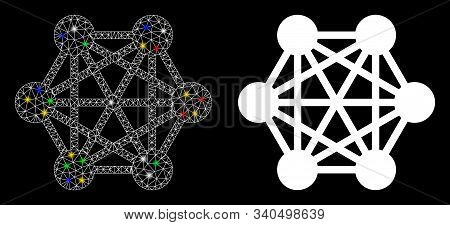 Flare Mesh Network Relations Icon With Glitter Effect. Abstract Illuminated Model Of Network Relatio