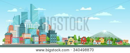 Suburban And Urban Cityscape. Modern City Architecture, Suburban Or Village Houses And Summer Landsc