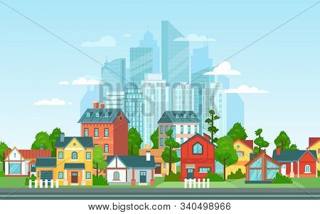 Suburban Landscape. Urban Architecture, Small And Big City Buildings. Suburbans Houses Cartoon Vecto