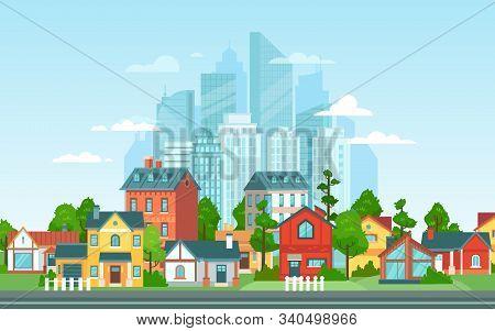 Suburban Landscape. Urban Architecture, Small And Big City Buildings. Suburbans Houses Cartoon Vecto