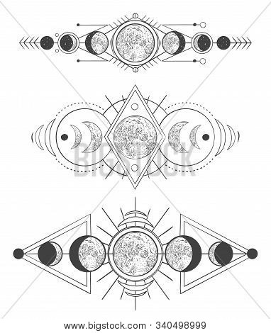 Moons Phases In Mystic Sky. Mother Moon, Hand Drawn Pagan Tattoo Or Sketch Wicca Moon Goddess Vector