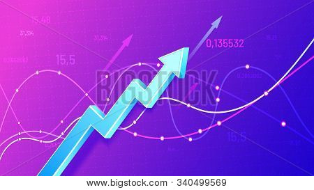 Growing Financial Schedule 3d Arrow. Profit Growth, Rising Chart And Finance Business Statistic Vect