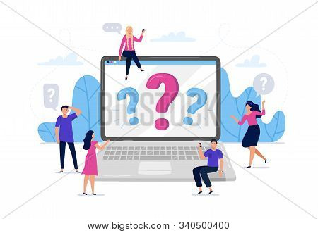 Online Question Answers Search. Question Sign On Laptop Computer Screen, Confused People Asking Ques