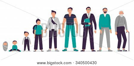 Different Ages Male Character. Child, Young Boy, Teenager, Adult Man And Old Senior Vector Illustrat