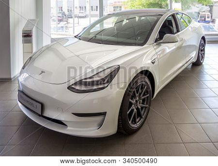 Voronezh, Russia - Juny 25, 2019: White Electric Car Tesla Model 3 Showroom