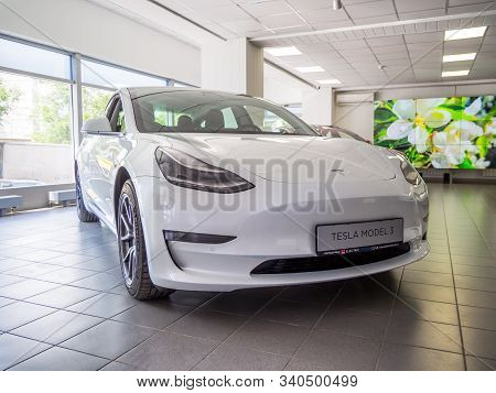 Voronezh, Russia - Juny 25, 2019: New Tesla Model 3 Electric Car At The Abc Electric Motors Club Sho