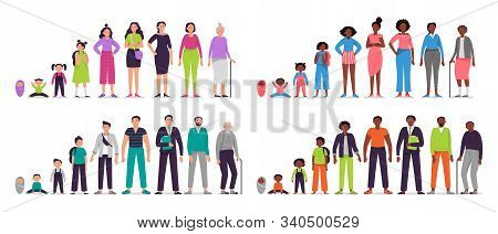 Different Ages People Characters. Little Baby, Boy And Girl Kids, African Teenagers, Adult Man And W