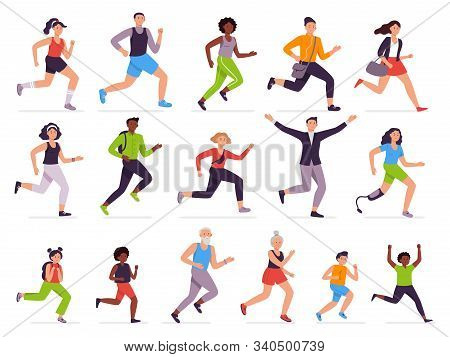 People Run. Running Person, Fast Girl And Sprinting Boy. Jogging Kids, Man And Woman. Runners Charac