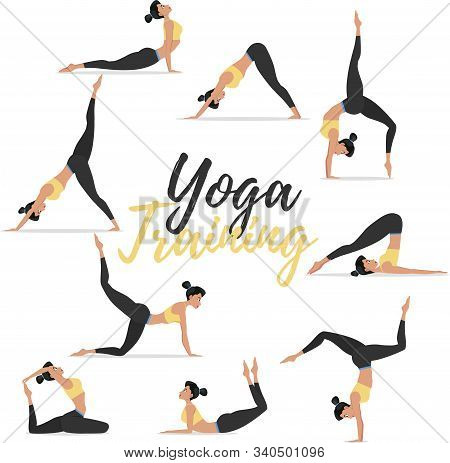 Yoga Asanas Set Isolated On White Background. Young Attractive Girl In Sportswear Practicing Yoga. H