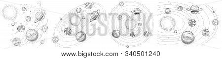 Sketch Solar System. Hand Drawn Planets Orbits, Planetary And Earth Orbit Vector Illustration Set. A