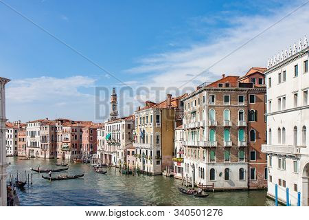 Boats And Buildings Along The Grand Canal In Venice