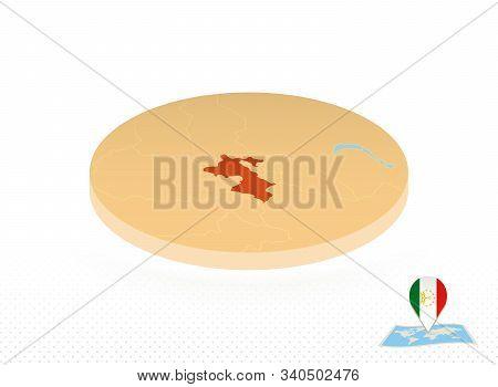 Tajikistan Map Designed In Isometric Style, Orange Circle Map Of Tajikistan For Web, Infographic And