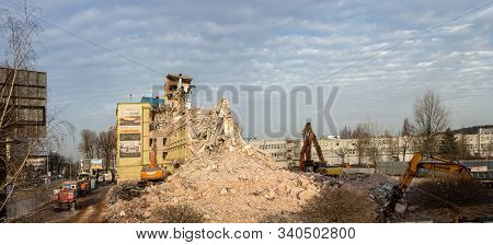 Kraków, Poland - December 18, 2019: Demolition Of An Old Office Building, Called Elbud In A Traditio