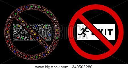 Glossy Mesh No Exit Icon With Glow Effect. Abstract Illuminated Model Of No Exit. Shiny Wire Frame P