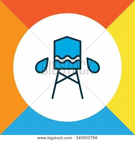 Water Tank Icon Colored Line Symbol. Premium Quality Isolated Reservoir Element In Trendy Style.