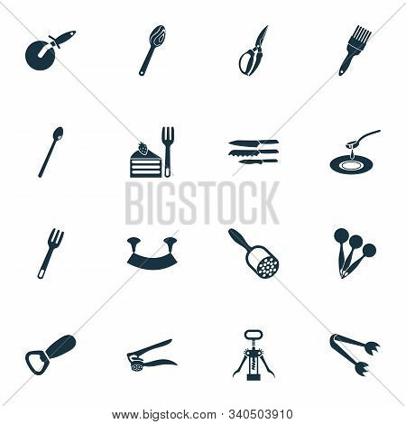 Kitchenware Icons Set With Soda Spoon, Dishware, Bottle Opener And Other Instrument Elements. Isolat