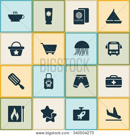 Trip Icons Set With Ice Cream, Bus, Star And Other Citizenship Elements. Isolated Vector Illustratio
