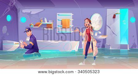 Plumber Fixing Leakage In Flooded Bathroom, Woman Waiting For Toilet Bowler Pipe Repair Speaking By