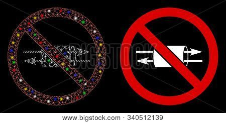 Glossy Mesh No Vpn Icon With Sparkle Effect. Abstract Illuminated Model Of No Vpn. Shiny Wire Frame