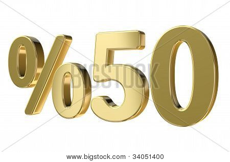 Golden Fifty Percent Sign