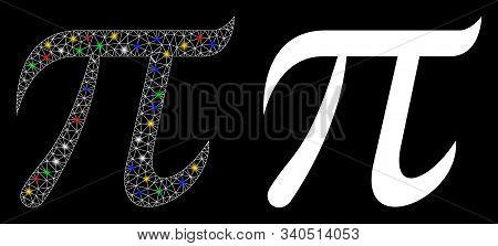Bright Mesh Pi Symbol Icon With Glow Effect. Abstract Illuminated Model Of Pi Symbol. Shiny Wire Car