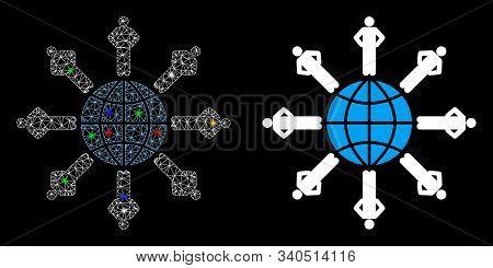 Glossy Mesh Planetary Society Icon With Lightspot Effect. Abstract Illuminated Model Of Planetary So