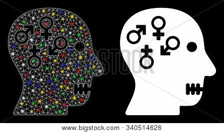 Flare Mesh Psychosexual Disorder Icon With Sparkle Effect. Abstract Illuminated Model Of Psychosexua