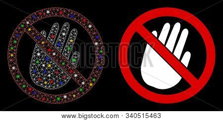 Glowing Mesh Restricted Hand Icon With Glow Effect. Abstract Illuminated Model Of Restricted Hand. S