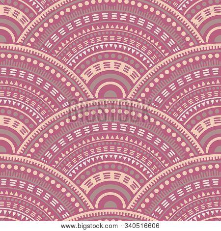 Moroccan Medallions Mosaic Tile Design Vector Seamless Pattern. Folk Motifs Vintage Line Art Geometr