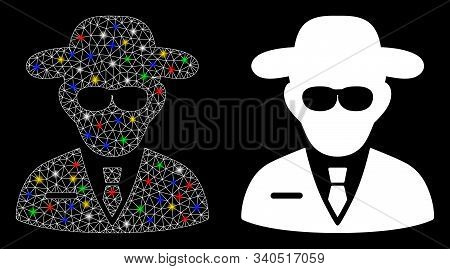 Glossy Mesh Secure Agent Icon With Lightspot Effect. Abstract Illuminated Model Of Secure Agent. Shi