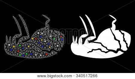 Glossy Mesh Sick Flea Icon With Glow Effect. Abstract Illuminated Model Of Sick Flea. Shiny Wire Fra