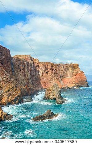 Beautiful Volcanic Cliffs In Ponta De Sao Lourenco, Madeira Island, Portugal. Rocks By The Atlantic