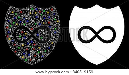 Glowing Mesh Unlimited Shield Icon With Glare Effect. Abstract Illuminated Model Of Unlimited Shield