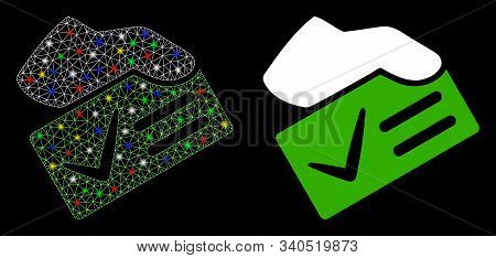 Glowing Mesh Vote Yes Icon With Glow Effect. Abstract Illuminated Model Of Vote Yes. Shiny Wire Carc