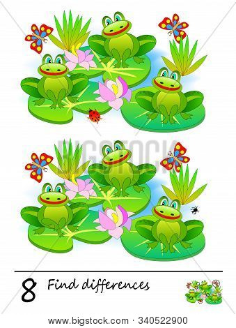Find 8 Differences. Logic Puzzle Game For Children And Adults. Printable Page For Kids Textbook. Thr