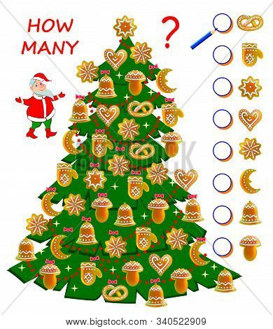 Math Education For Children. Count Cakes Quantity In Christmas Tree. Write Numbers In Circles. Devel